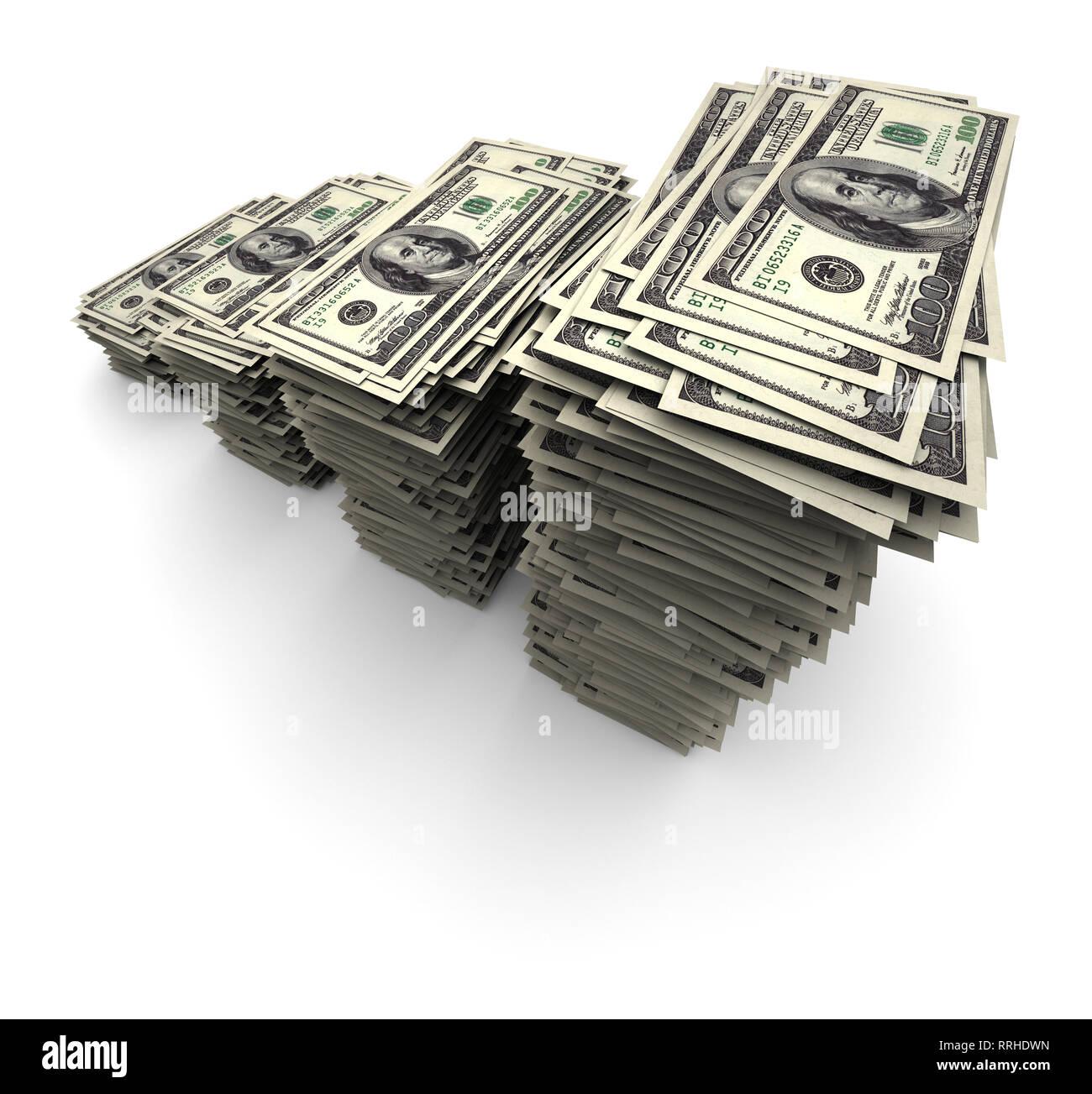 Super high resolution 3D render of one thousand $100 US dollar bills. - Stock Image