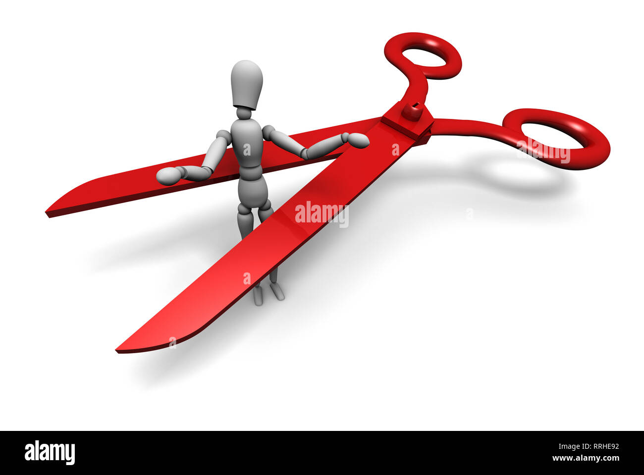 Mannequin about to be cut by a huge pair of red scissors. High resolution 3D illustration. Isolated on white background. - Stock Image