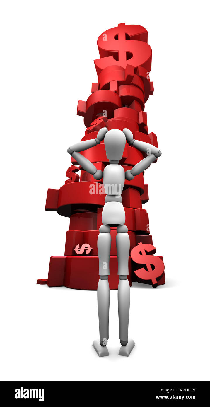3D render of dumbfounded mannequin standing in front of a stack of red $ dollar symbols. Stock Photo