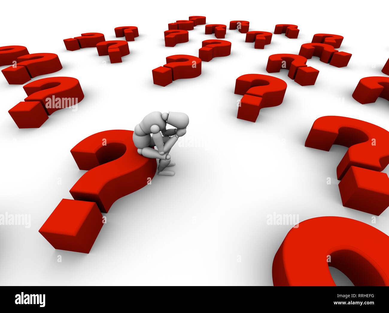 3D illustration of a sad mannequin sitting in a sea of red question marks. - Stock Image