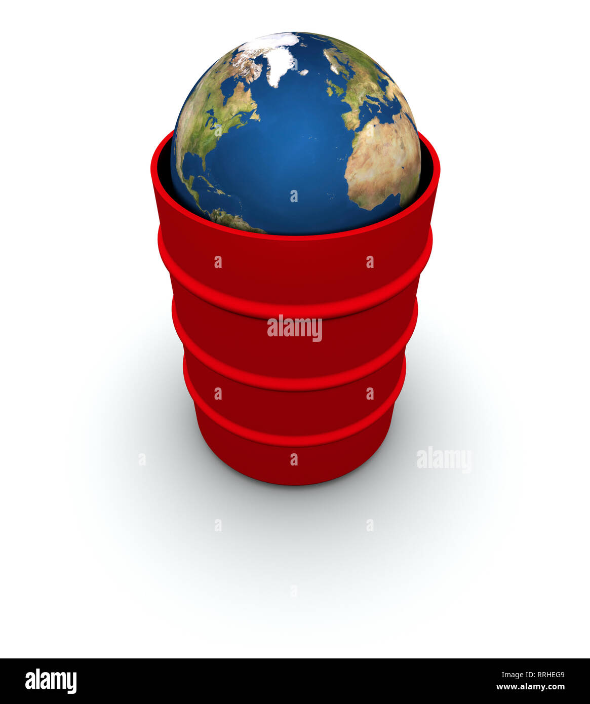 High resolution raytraced 3D render of Earth inside a 55 gallon drum. Created using public domain maps from the USGS. - Stock Image