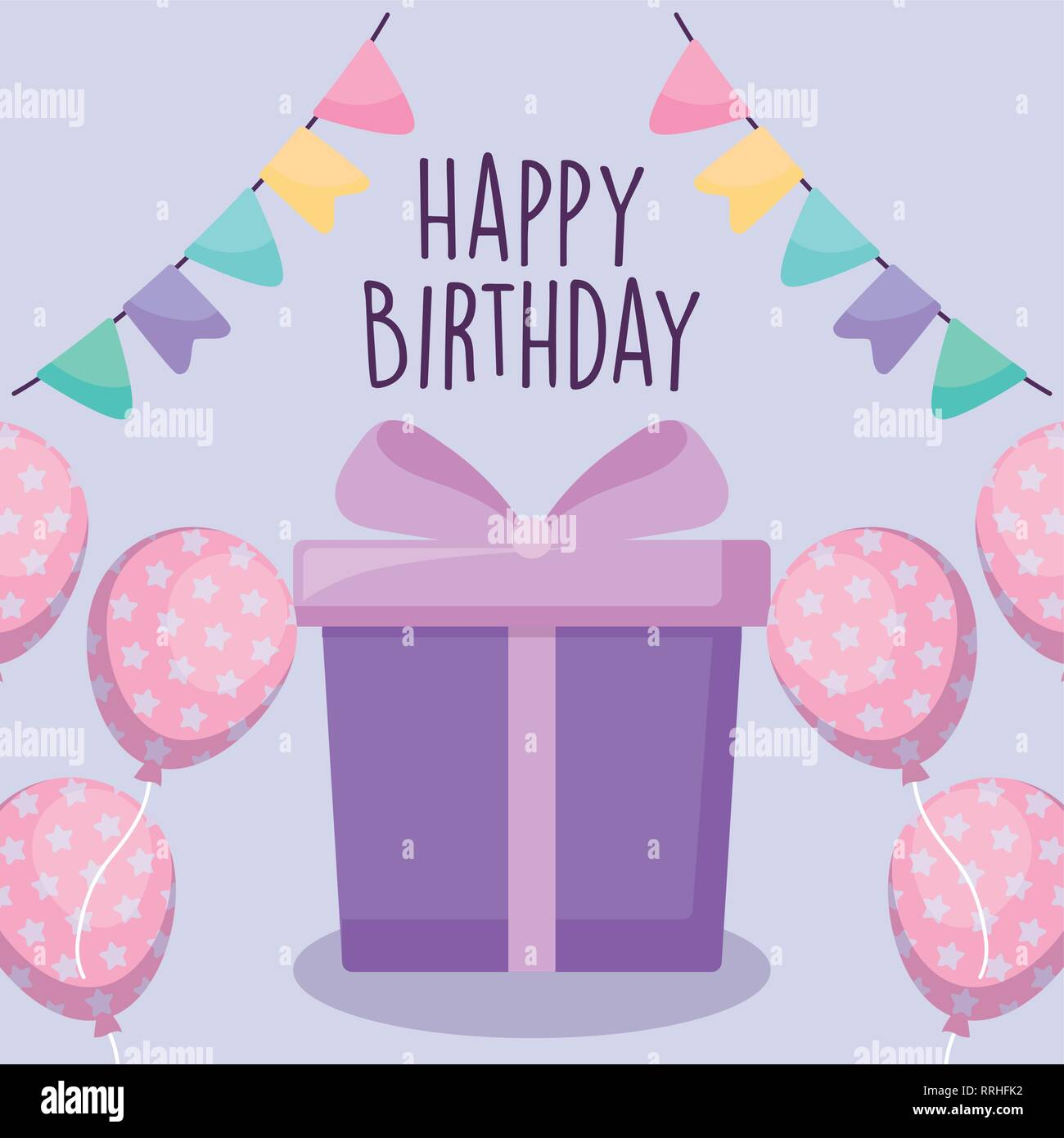 Happy Birthday Card With Gift Box Vector Illustration Design