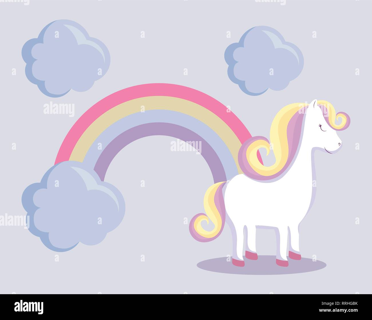 cute unicorn with rainbow and clouds vector illustration design