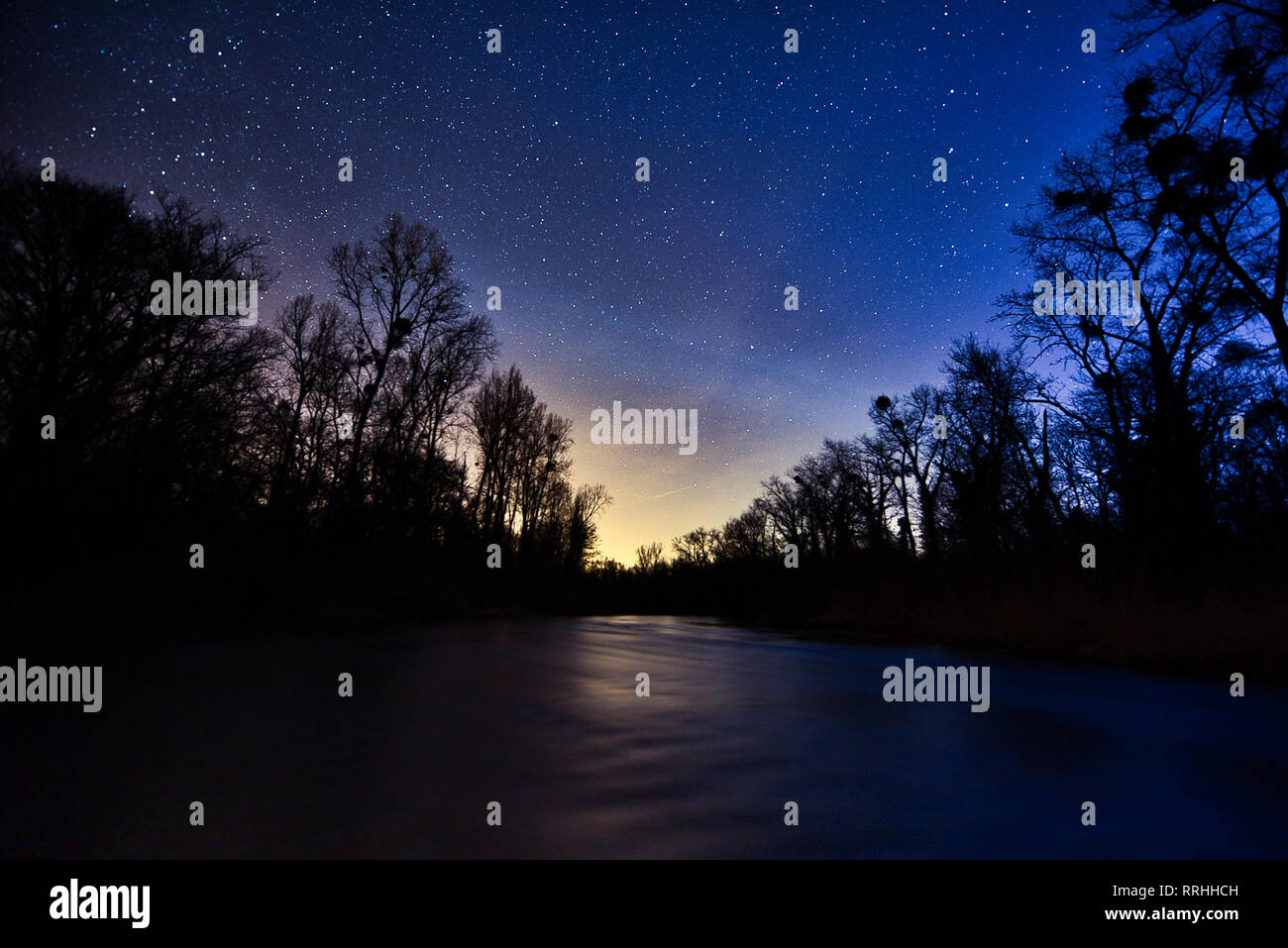 Night Sky Stars Forest River - Stock Image