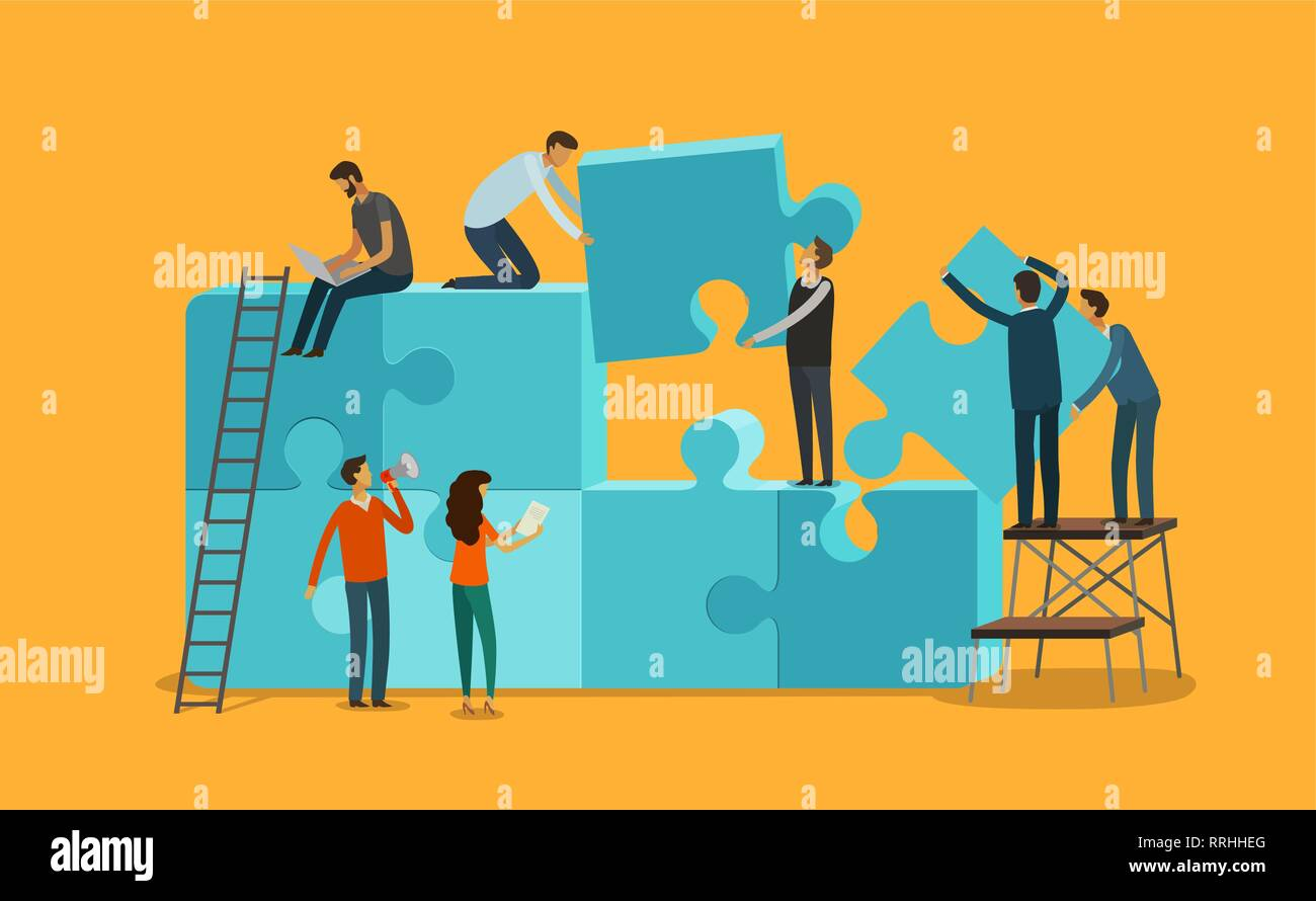Team work concept. Business, teamwork infographics. Pieces of a puzzle vector illustration - Stock Image