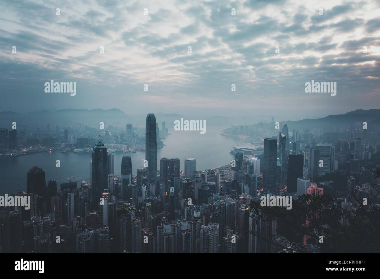 Misty morning view at Hong Kong City. view from Victoria Peak Stock Photo
