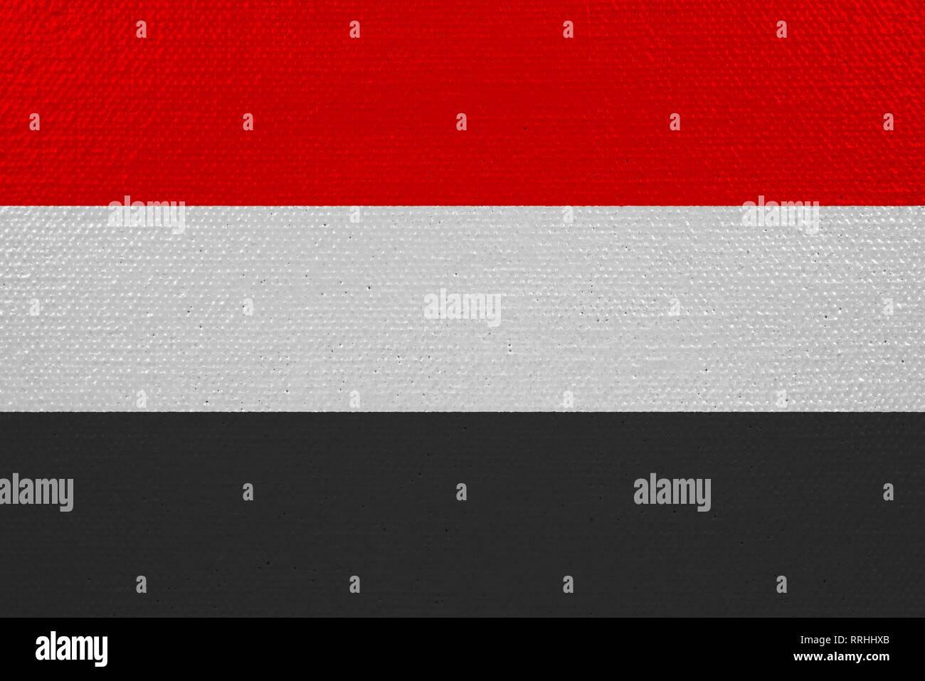 yemen flag on canvas - Stock Image