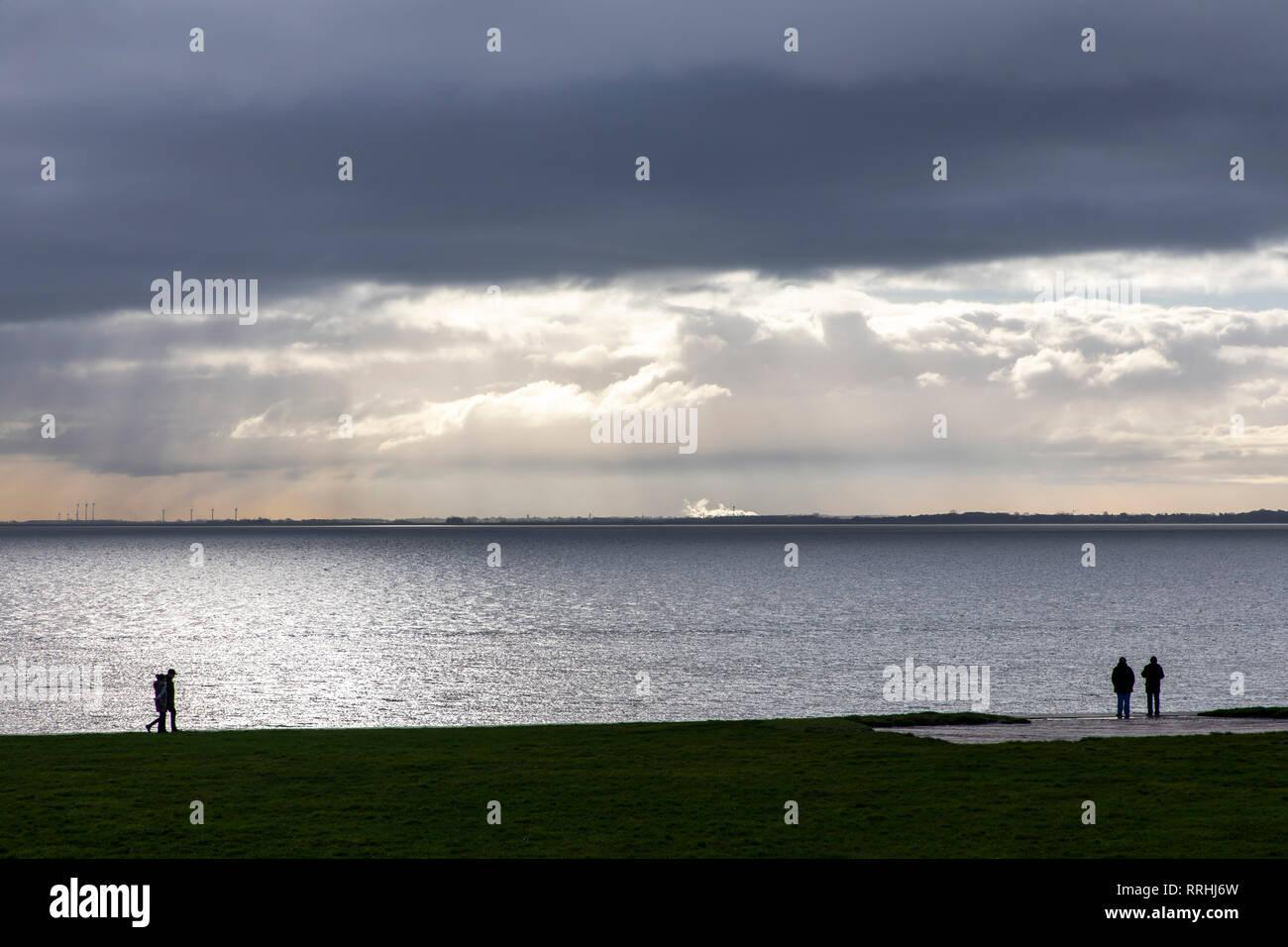 Wilhelmshaven, am Südstrand, Jadebusen, Meeresbucht, Friesland, Winter, Stock Photo