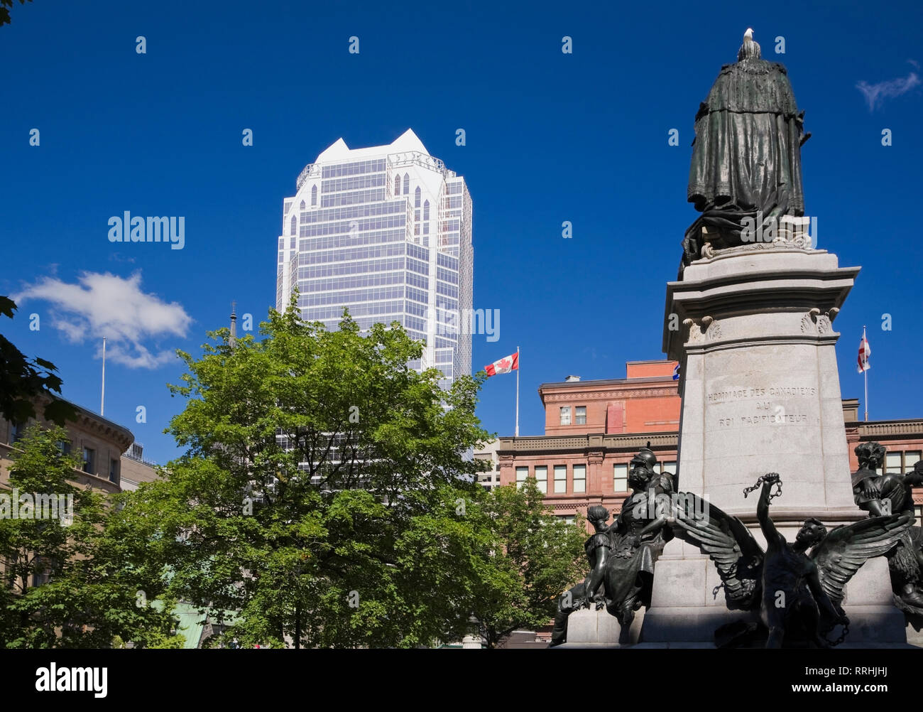 Edward VII monument in Phillips Square, Montreal, Quebec, Canada Stock Photo