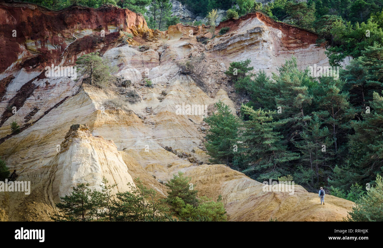 red and yellow rocks in the provencal colorado park near rustrel town provence france - Stock Image