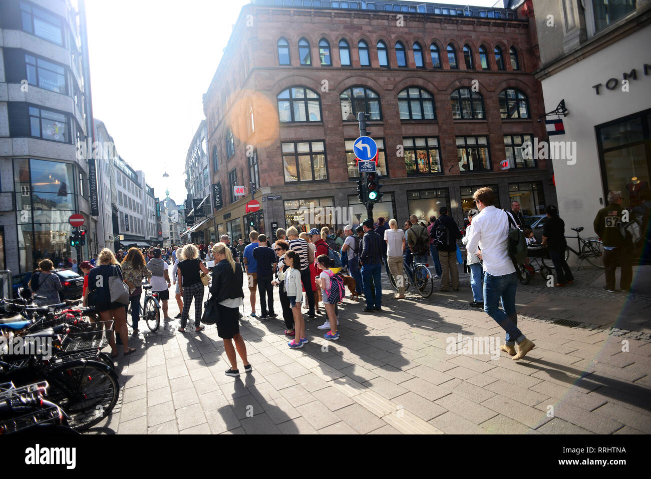 Strøget street, Copenhagen's aorta and one of Europe's longest pedestrian streets with a wealth of shops. - Stock Image