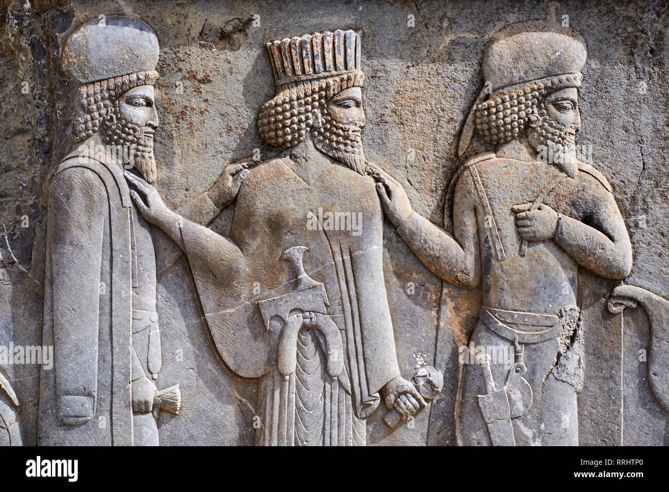 Relief of the warriors, staircases of Apadana, Persepolis, UNESCO World Heritage Site, Fars Province, Iran, Middle East - Stock Image