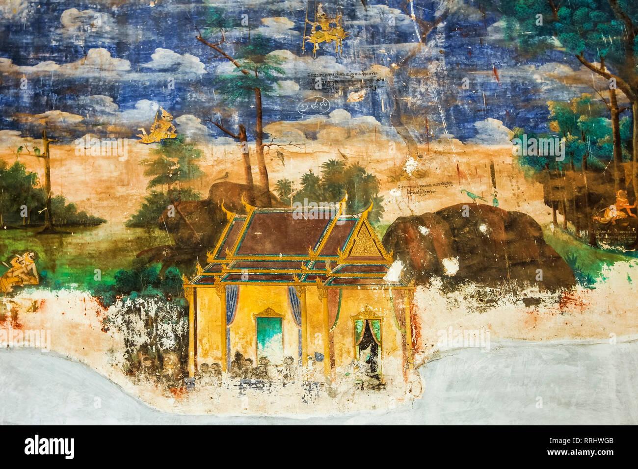 Fresco of the Reamker, the Khmer version of the Ramayana epic poem, Royal Palace cloisters, Royal Palace, Phnom Penh, Cambodia, Indochina - Stock Image