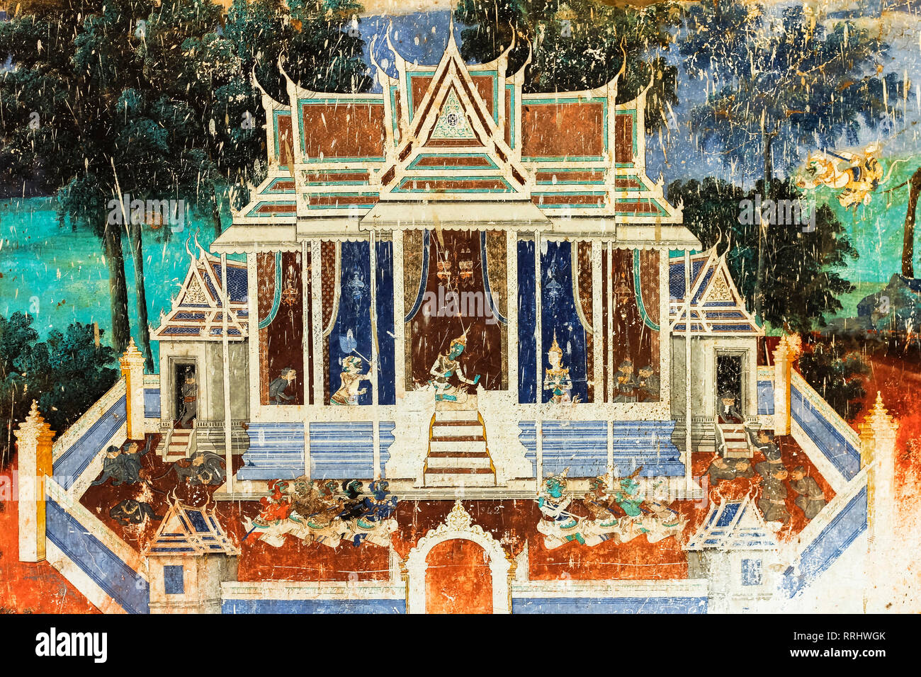 Fresco of the Reamker, the Khmer version of the Ramayana epic poem, Royal Palace cloisters, Royal Palace, Phnom Penh, Cambodia, Indochina - Stock Image