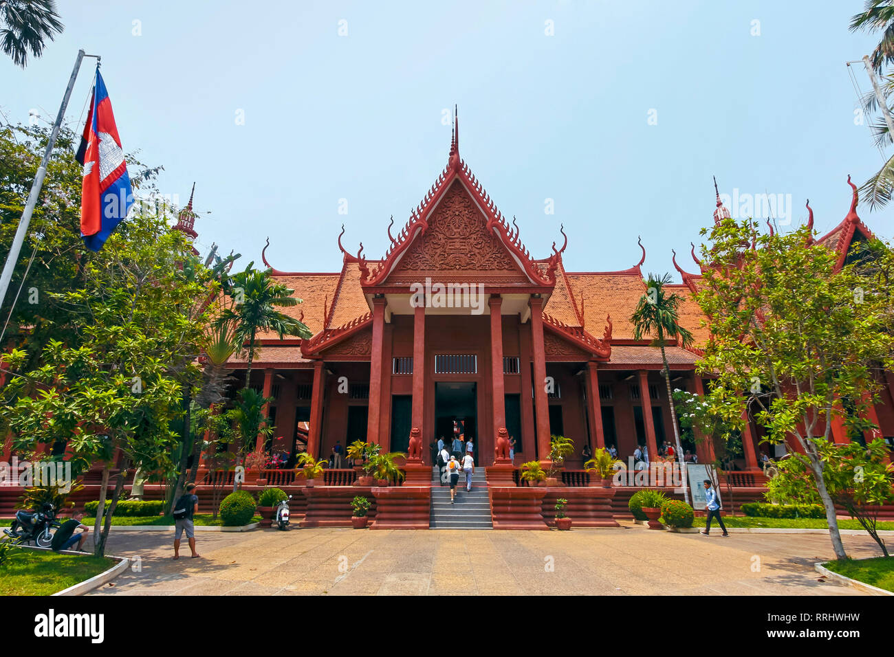 The 1920s National Museum of Cambodia, a large collection of historic Khmer artefacts, Preah Ang Eng St, Phnom Penh, Cambodia, Indochina - Stock Image