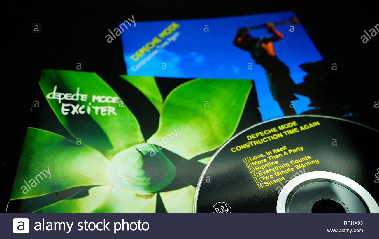 Rome, February 22, 2019: Albums covers and cd by the English pop band DEPECHE MODE.Pioneers of the Synth-pop with lead singer Dave Gahan - Stock Image