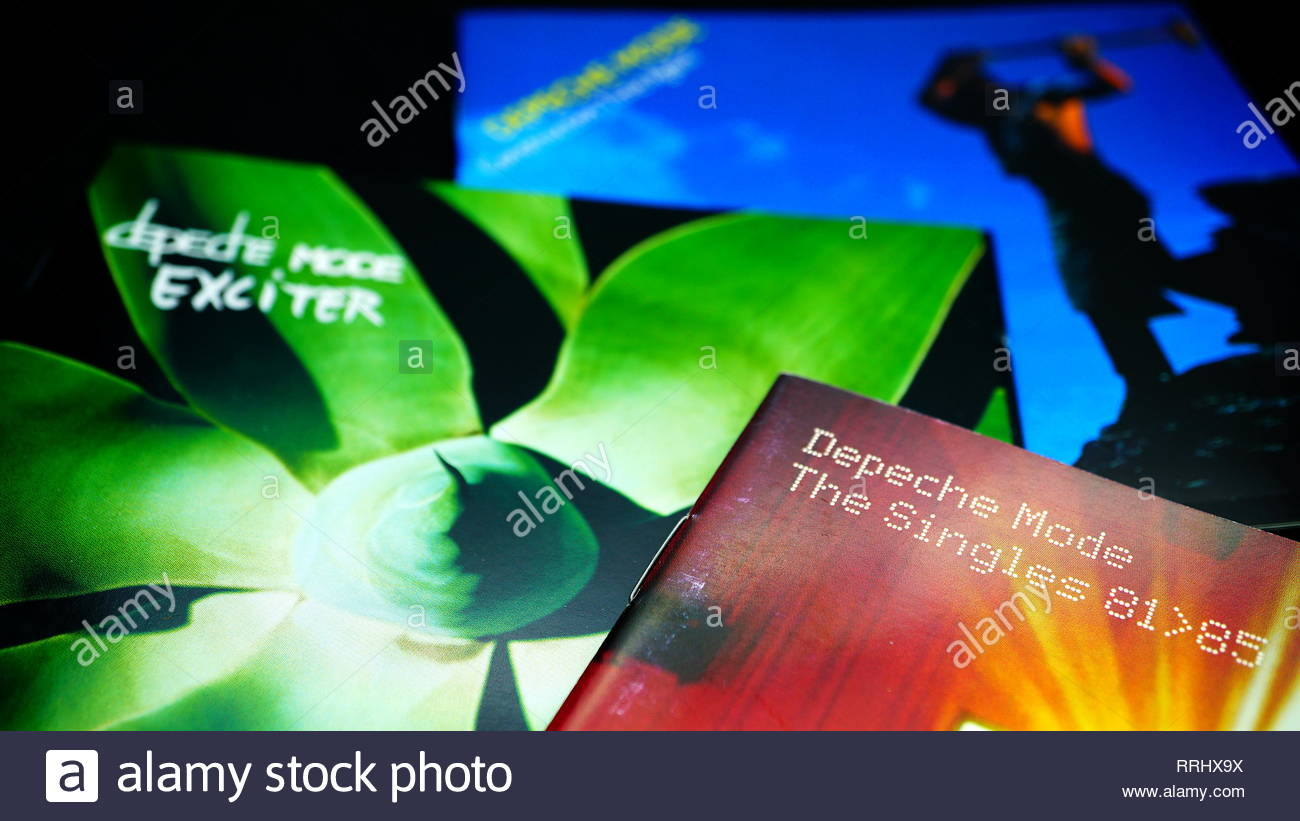 Rome, February 22, 2019: Three albums by the English pop band DEPECHE MODE.Pioneers of the Synth-pop have sold more than 100 million records worldwide - Stock Image