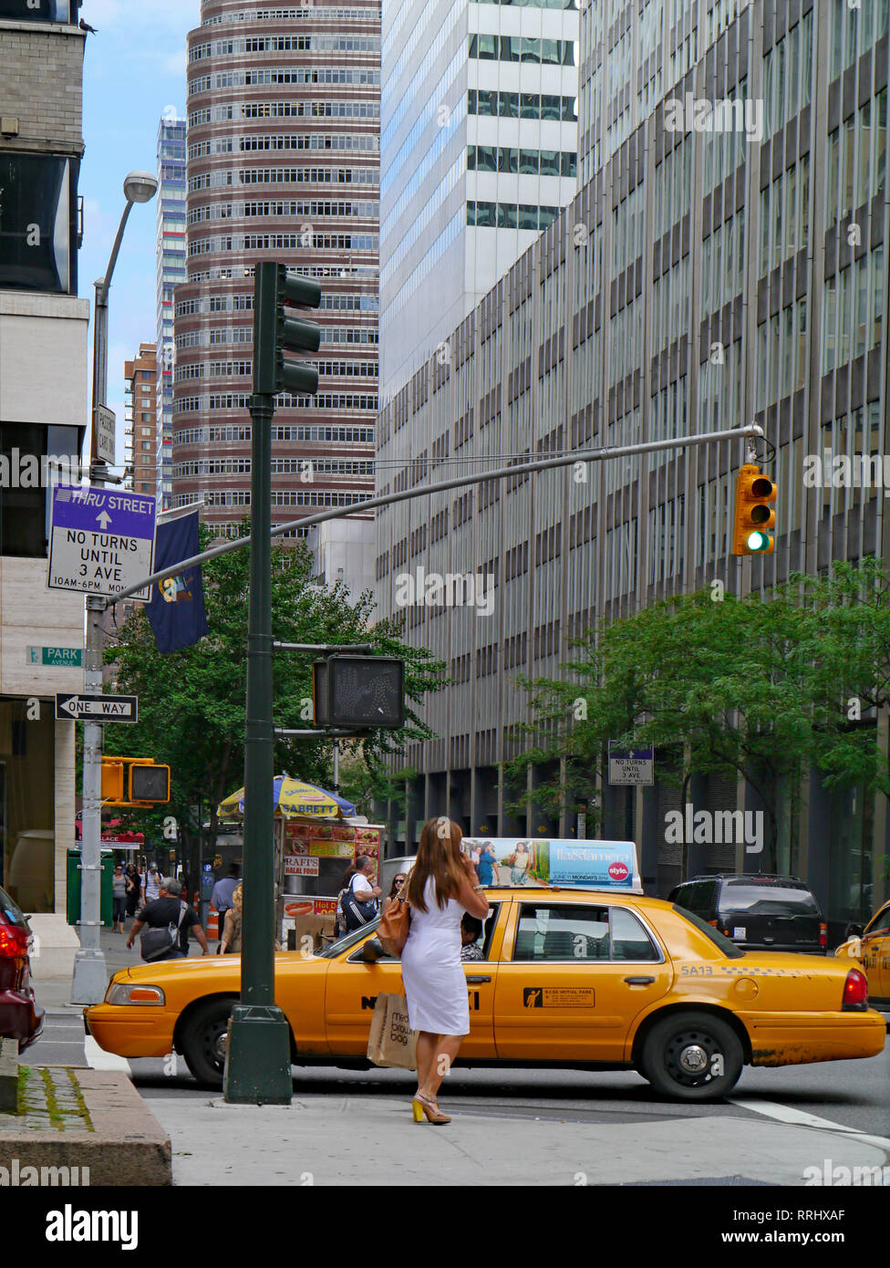 NEW YORK - JUNE 2012:  Gridlock on busy streets such as Park Avenue often blocks pedestrians trying to cross the street. - Stock Image