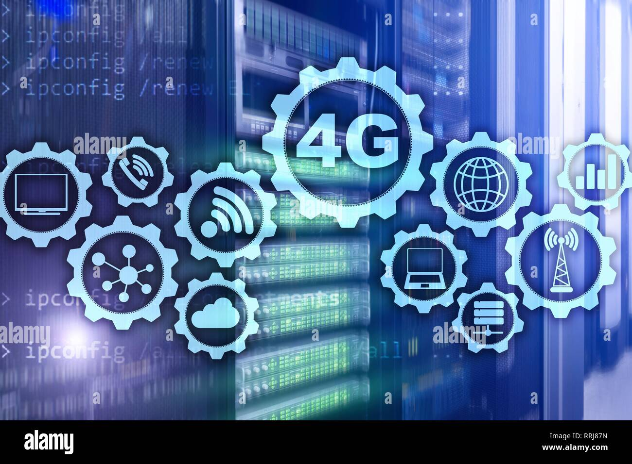 Mobile telecommunication cellular high speed data connection concept: 4G LTE. On server room background. - Stock Image