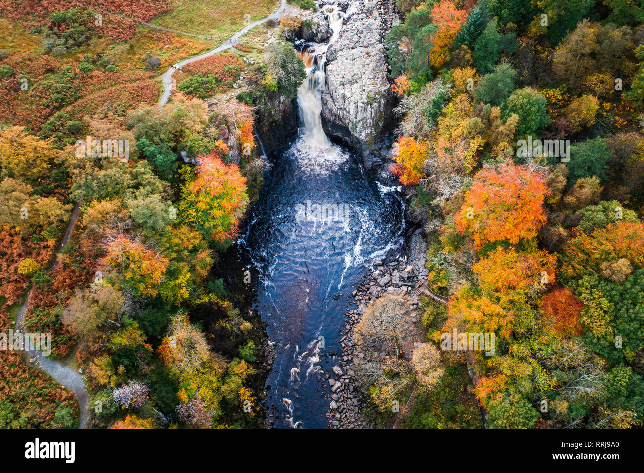 Aerial view of High Force and River Tees, North Pennines Area of Outstanding Natural Beauty, Middleton-in-Teesdale, Teesdale, Durham, England - Stock Image