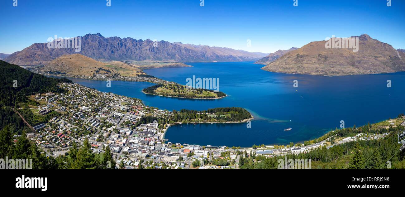 Panoramic view over Queenstown and Lake Wakatipu, south island, New Zealand. Stock Photo