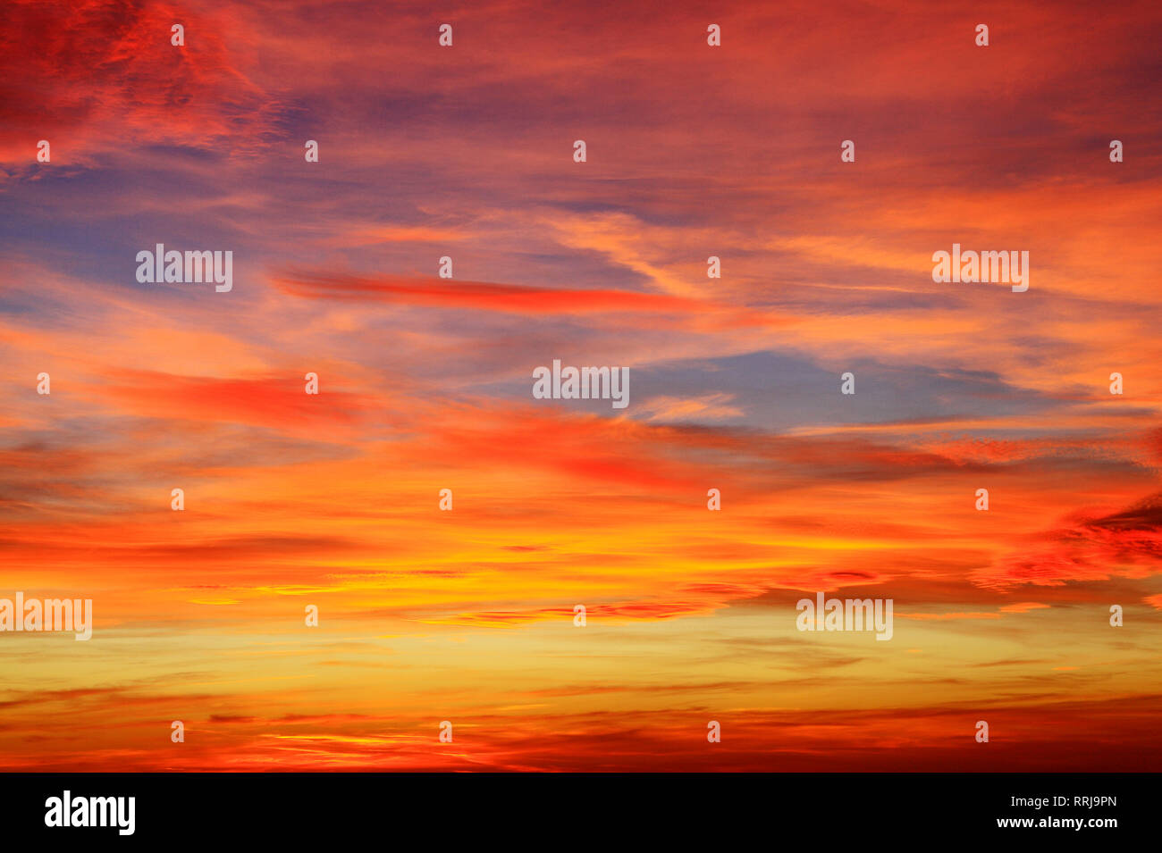 Sky, many colours, multi coloured, red, pink, orange, dark blue, light blue, cloud, clouds, after sunset, formation Stock Photo