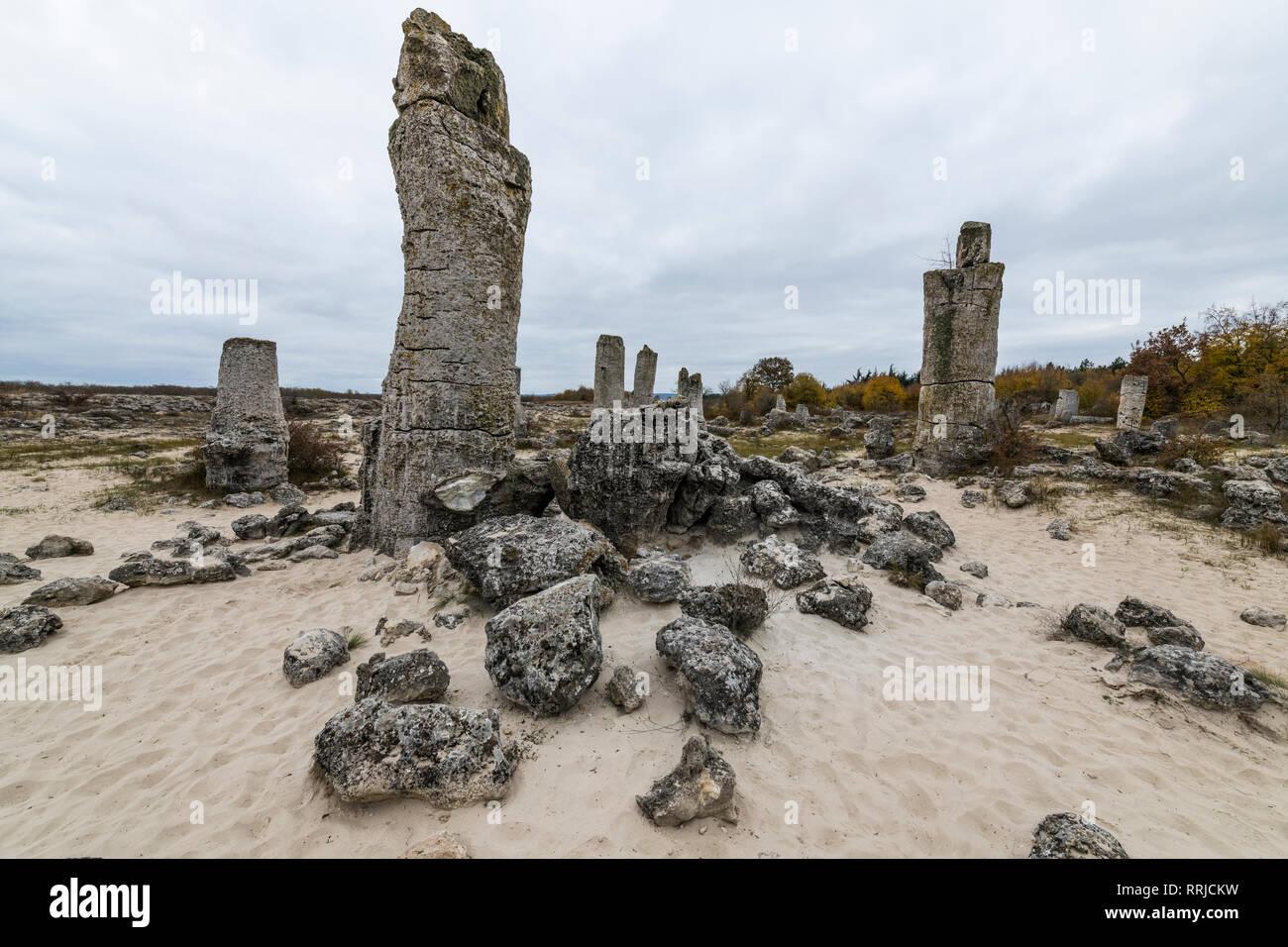 Stone desert Pobiti Kamani rock phenomenon, near Varna, Bulgaria, Europe - Stock Image