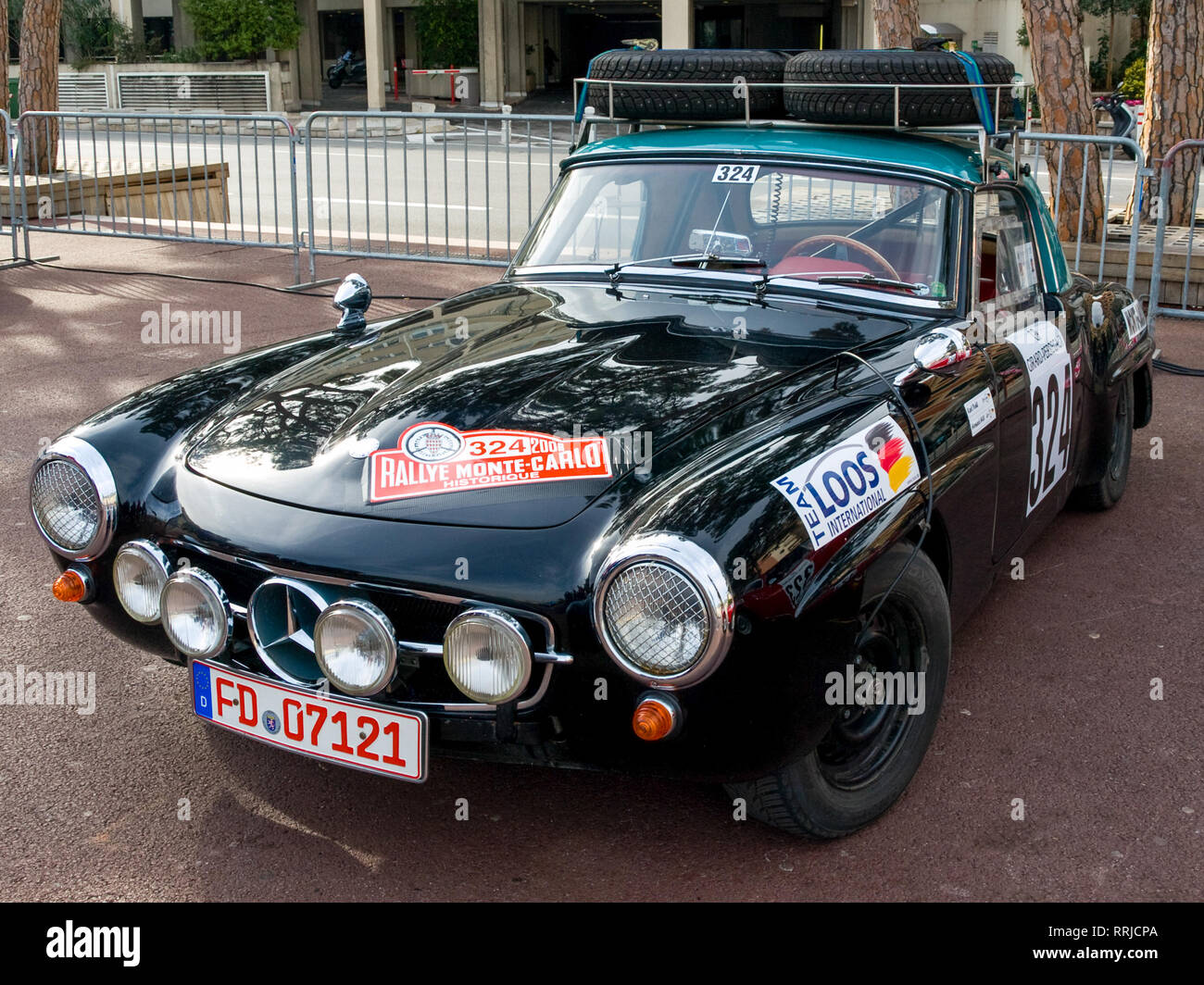 A classic Mercedes-Benz 450 SL rally car on display at the 2008 Monte Carlo Rally (76ème Rallye Automobile de Monte-Carlo) in Monte Carlo, Monaco. - Stock Image