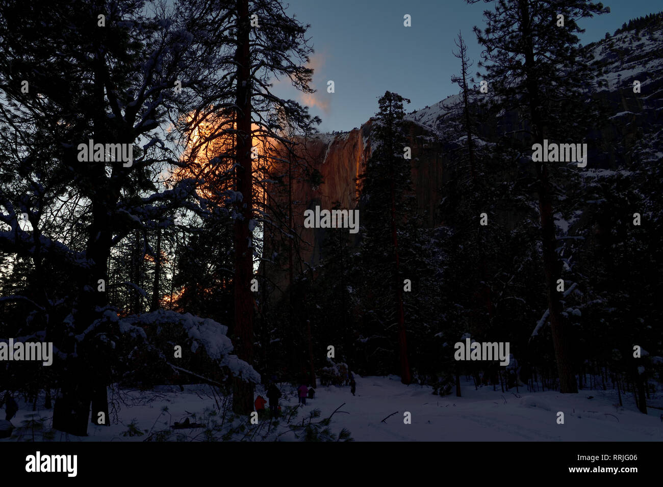 Firefall (Horsetail Fall)  2019, at Yosemite National Park - Stock Image