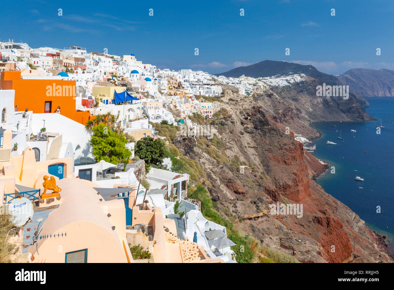 View of white washed house in Oia village, Santorini