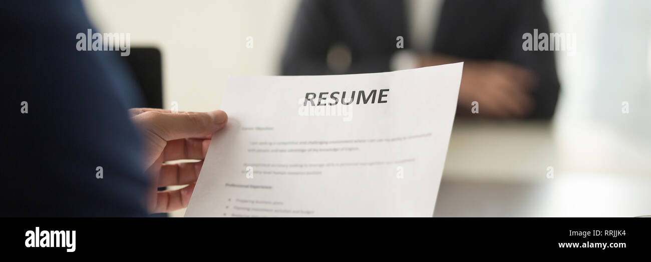 Boss Holding Resume Cv Paper Interviewing Vacancy Candidature
