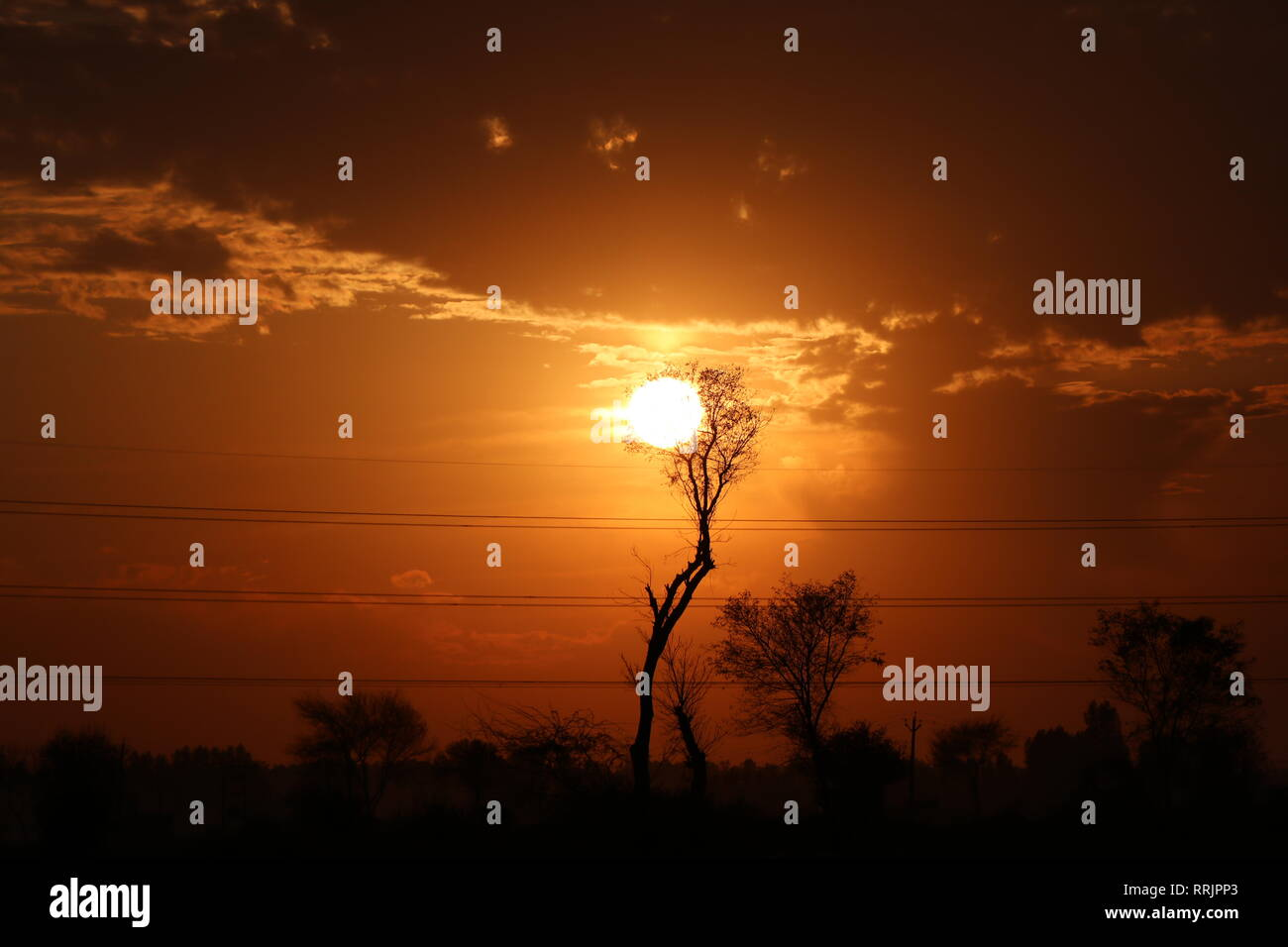 glorious and beautiful sunset - Stock Image