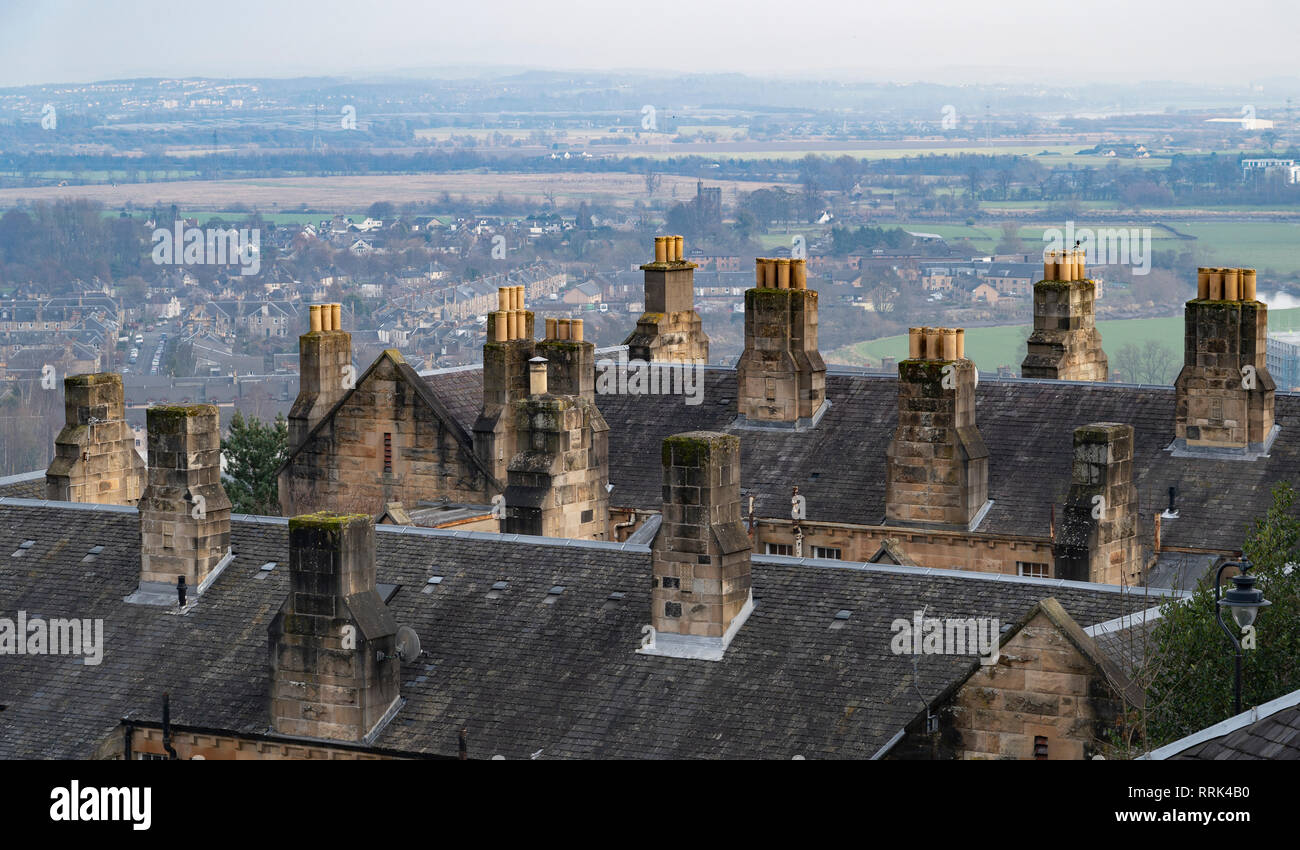 Chimney pots on old houses overlooking city of Stirling in Scotland, UK - Stock Image