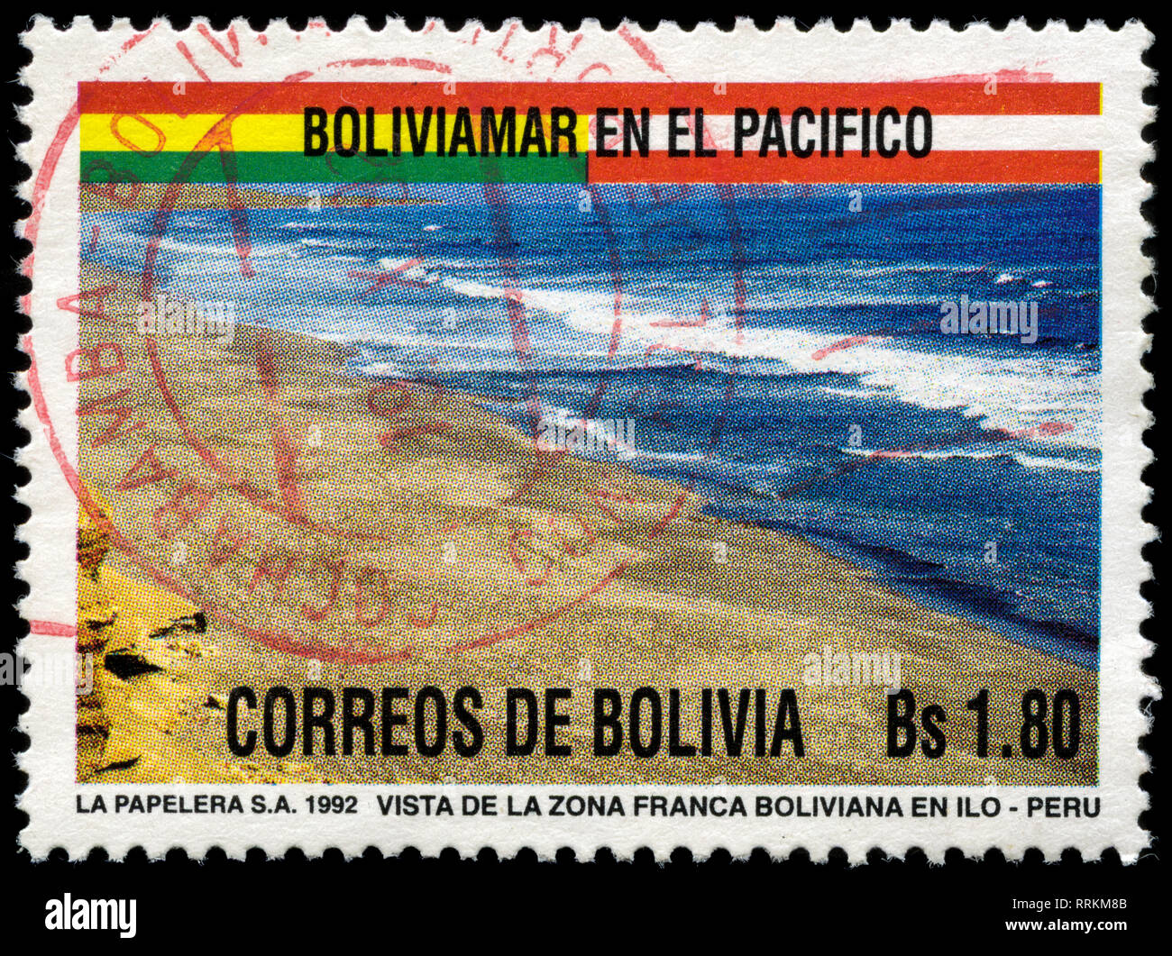 Postage stamp from Bolivia in the Agreement between Peru and Bolivia on the free port of Ilo series issued in 1992 - Stock Image