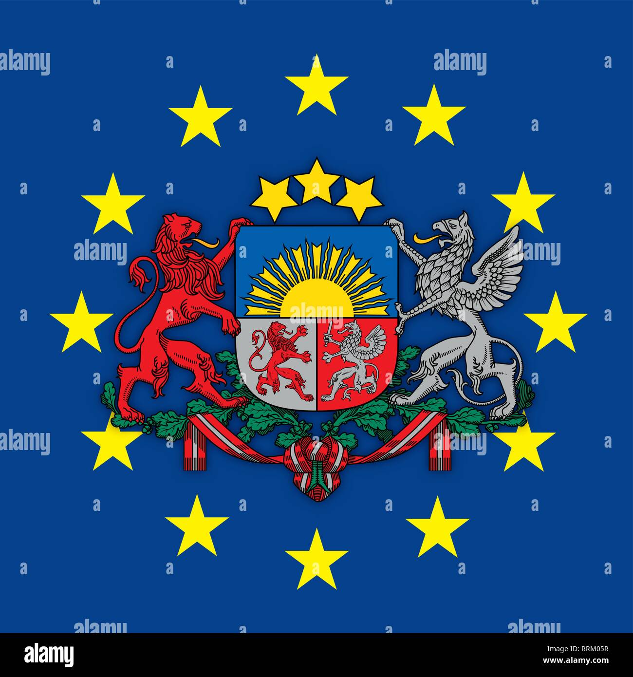 Latvia coat of arms on the European Union flag, vector illustration - Stock Image