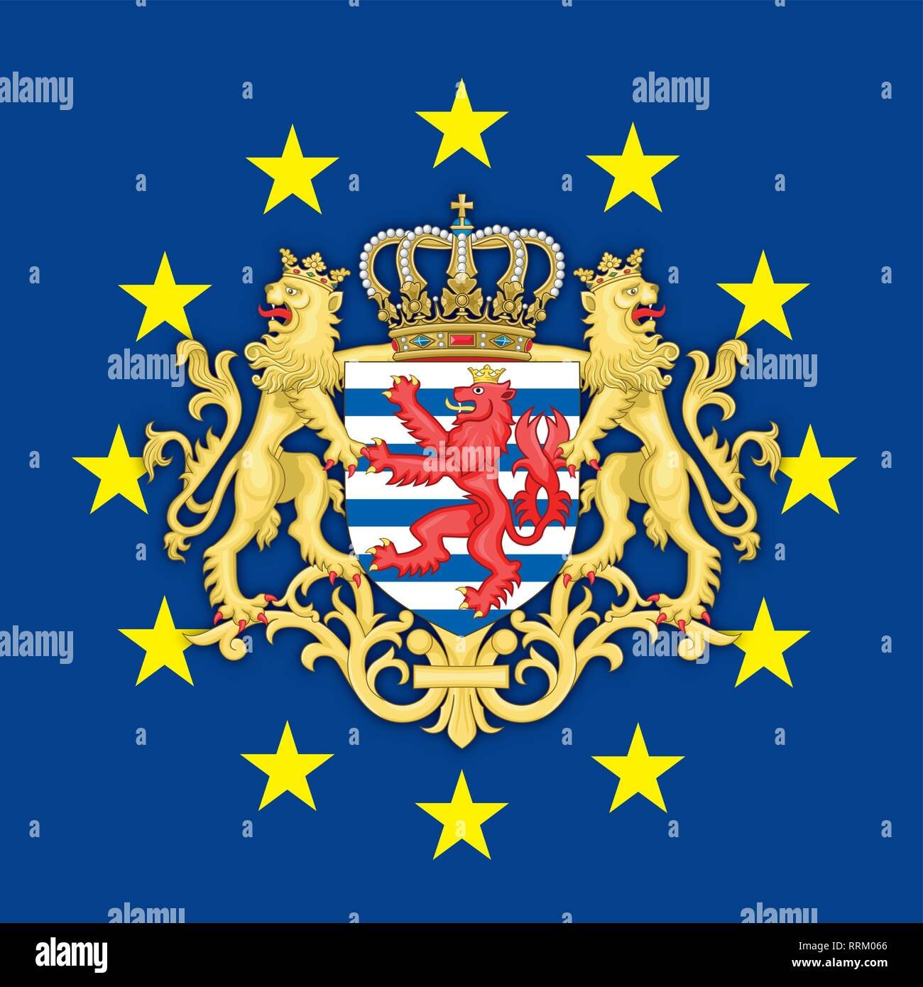 Luxembourg coat of arms on the European Union flag, vector illustration - Stock Image