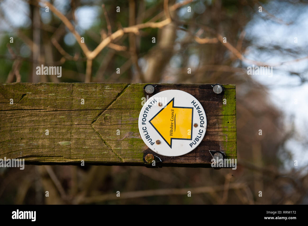 Sign indicating the route of a Public Footpath near Dilton Marsh, Wiltshire, UK. - Stock Image
