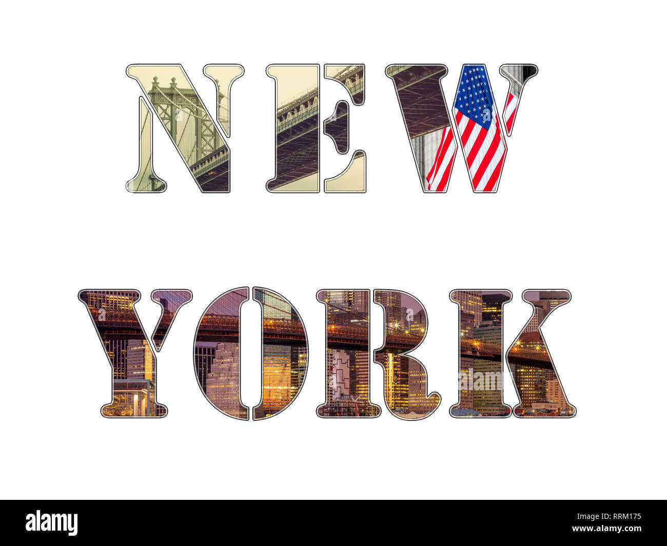 New York City letters -  photo collage of different famous locations, landmarks and areas of New York, isolated on white - Stock Image