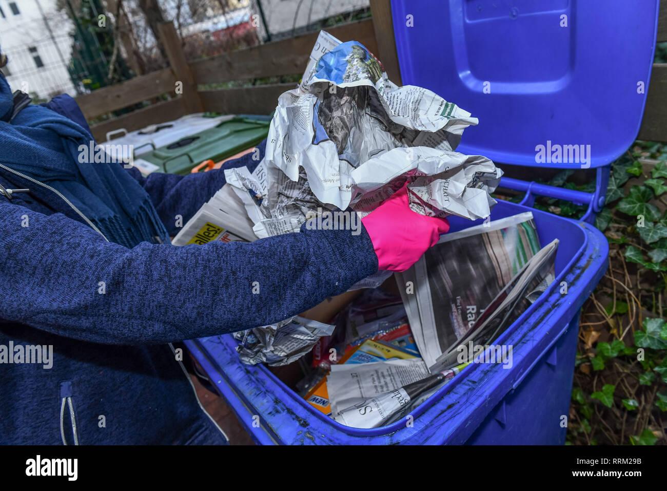 Waste paper tonne, Berlin, Germany, Altpapiertonne, Deutschland Stock Photo