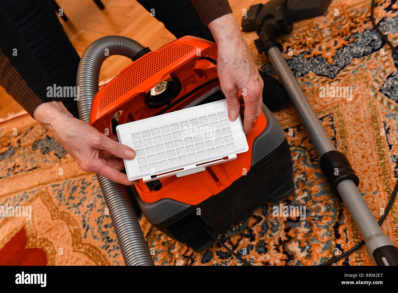 Vacuum cleaner, exchange dust filter, Staubsauger, Austausch Staubfilter Stock Photo