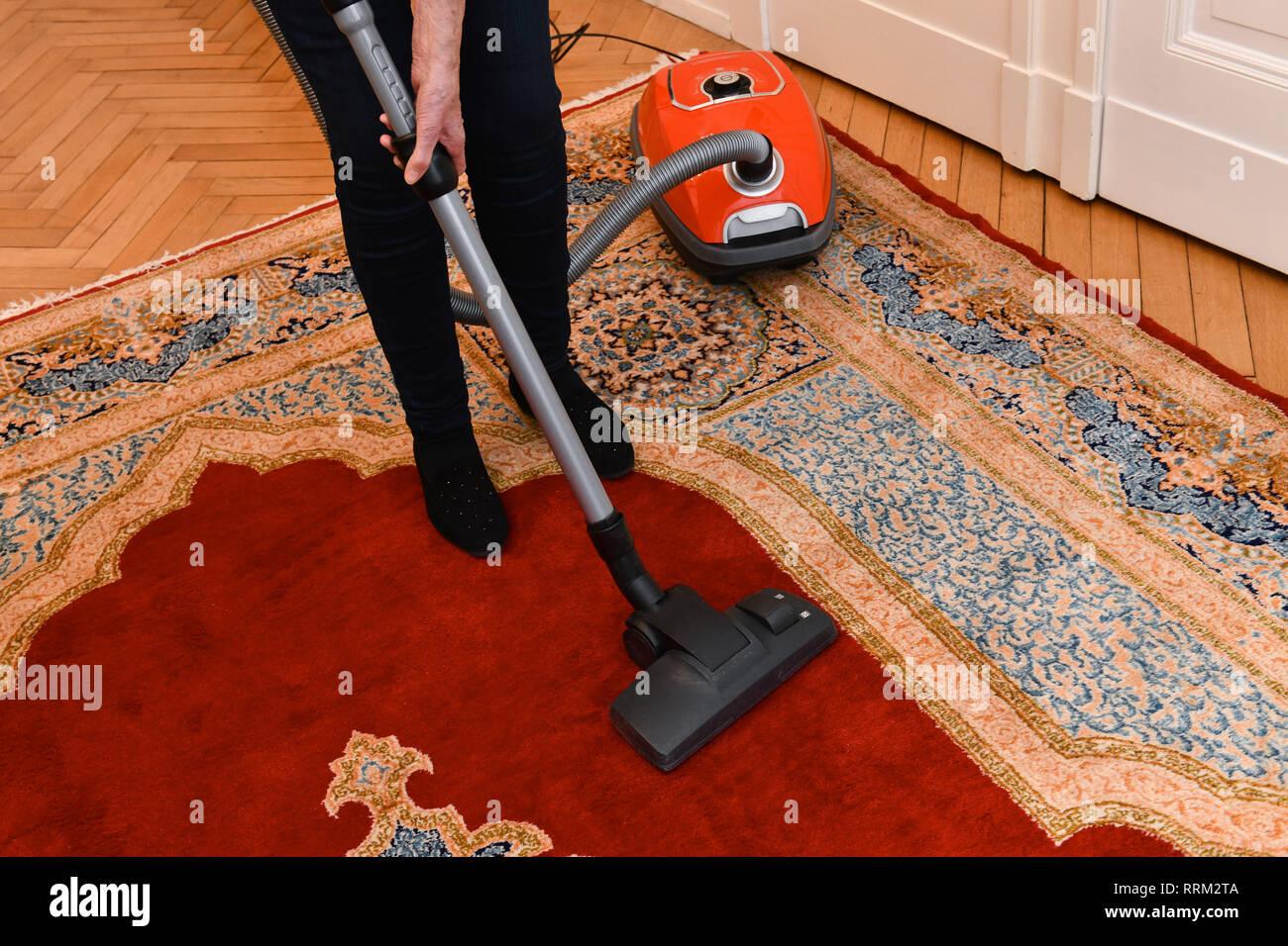 Hoovering, carpet, housework, Staubsaugen, Teppich, Hausarbeit Stock Photo