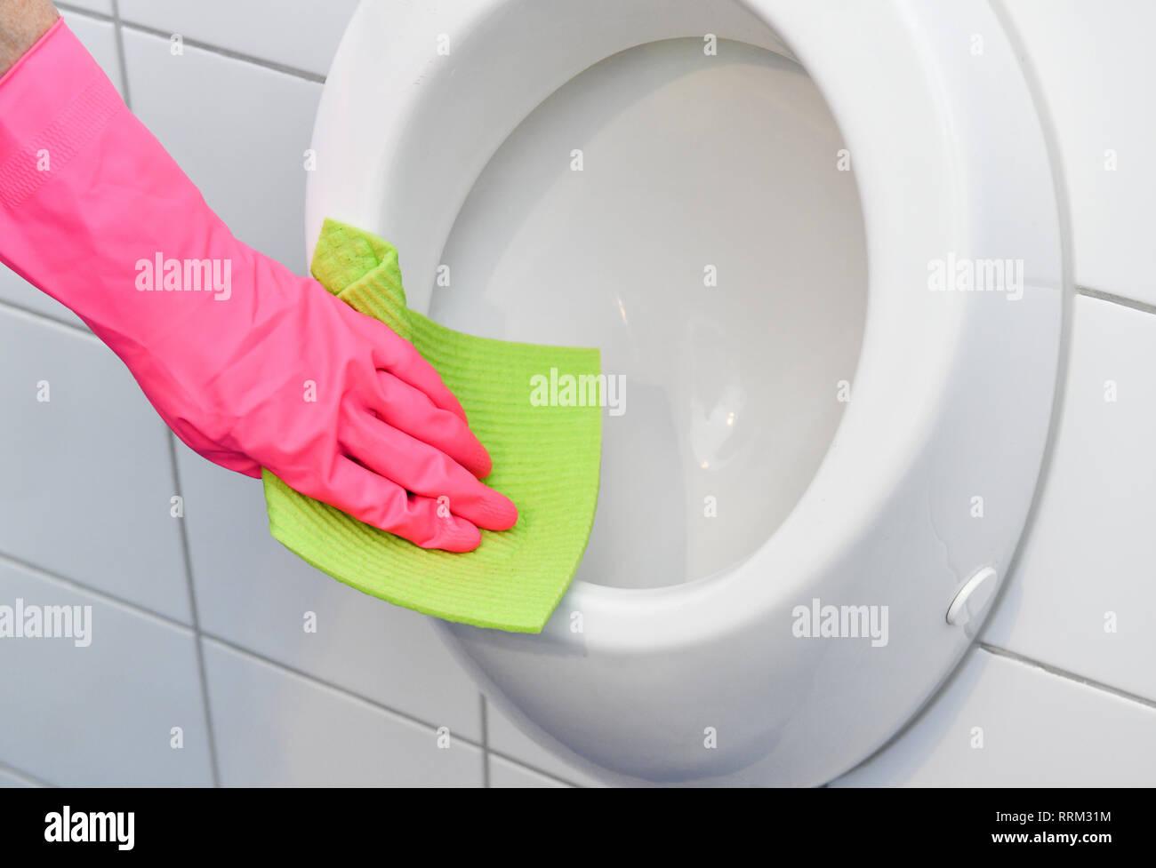 Cleaning, bathroom, Urinal, Reinigung, Badezimmer Stock Photo