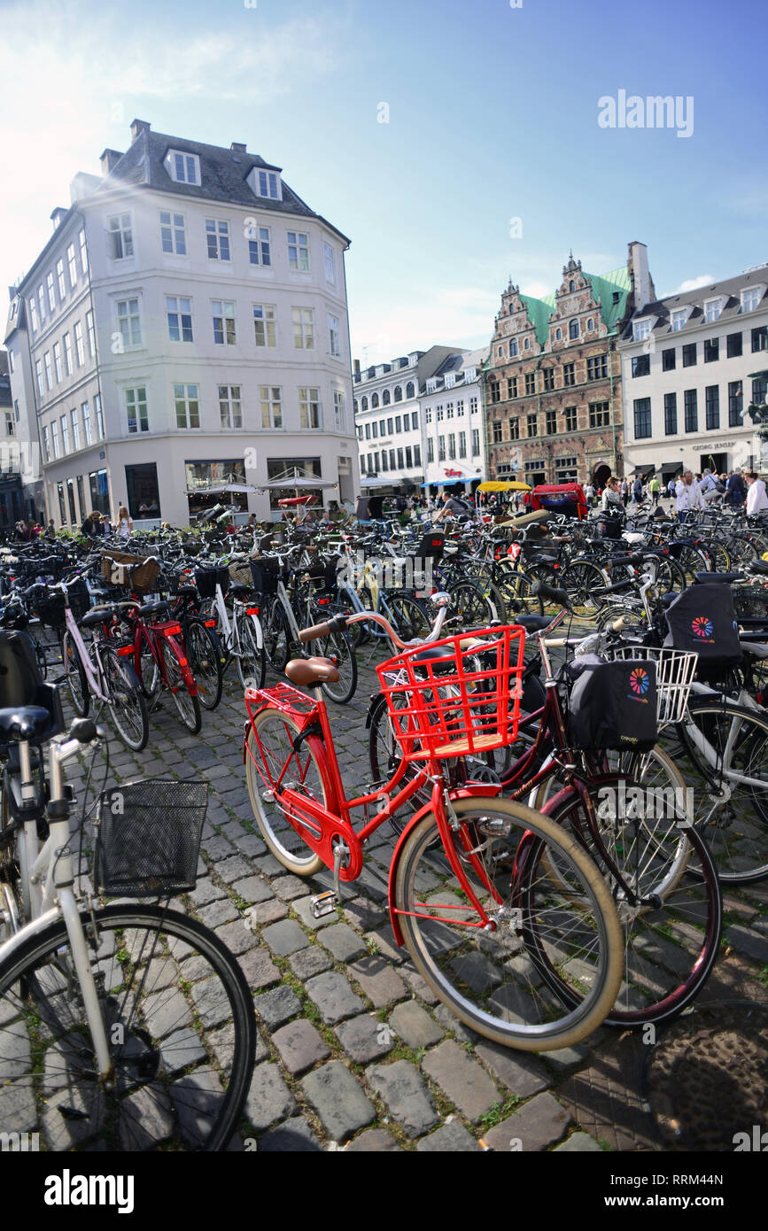 Amagertorv (Amager Square), today part of the Strøget pedestrian zone, is often described as the most central square in central Copenhagen, Denmark - Stock Image