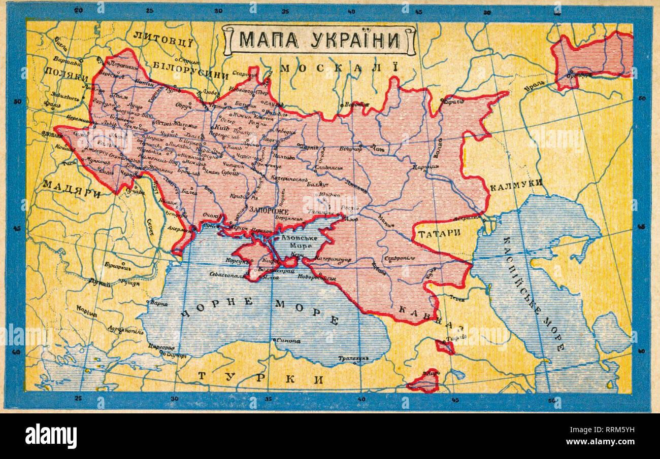 Map of Ukraine on Ukrainian postcard (1919) - Stock Image