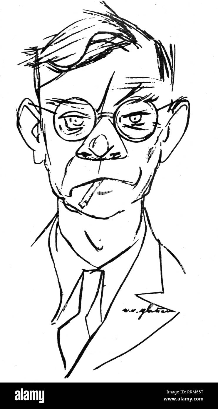 Fallada, Hans, 21.7.1893 - 5.2.1947, German author / writer, portrait, caricature of E. O. Plauen, 1943, Additional-Rights-Clearance-Info-Not-Available - Stock Image