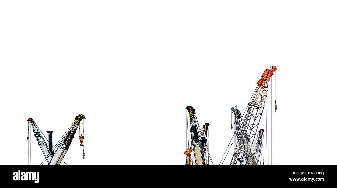 Set of big construction crane for heavy lifting isolated on white background. Construction industry. crane for container lift or at construction site. - Stock Image