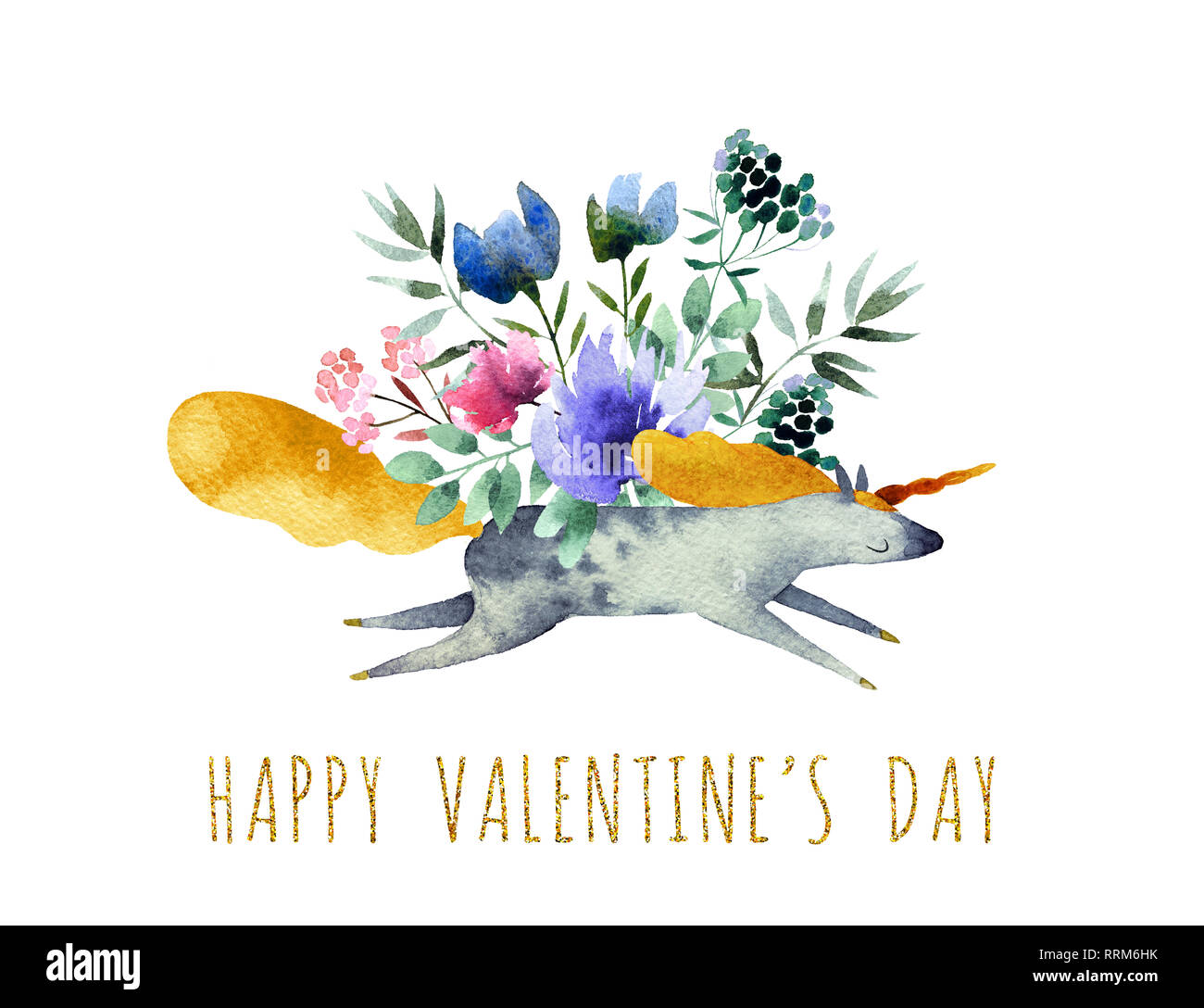 Beautiful watercolor bouquet with watercolor unicorn isolated on white background. Happy Valentine's Day postcard. Stock Photo
