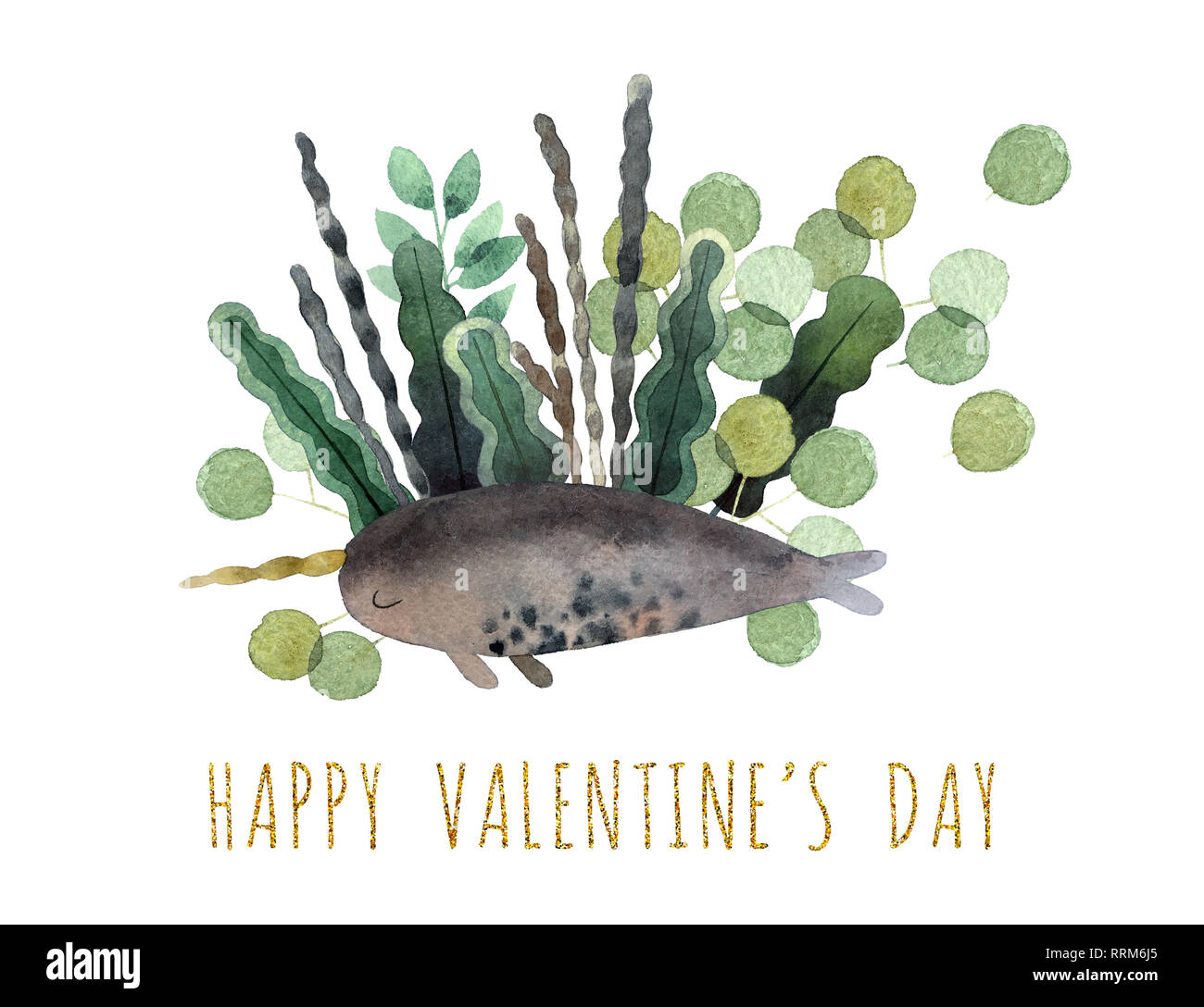 Beautiful watercolor bouquet with watercolor narwhale isolated on white background. Happy Valentine's Day postcard. - Stock Image