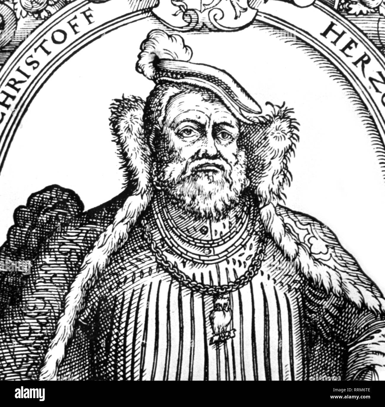 Christoph, 12.5.1515 - 28.12.1568, Duke of Wuerttemberg 6.11.1550 - 28.12.1568, portrait, woodcut, 16th century, detail, Additional-Rights-Clearance-Info-Not-Available - Stock Image