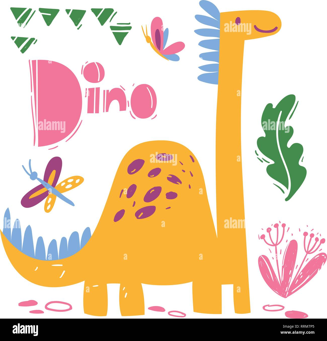 Cool dino poster with funny cartoon dinosaur - Stock Image